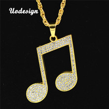 Uodesign Rhinestone Rhythm Pendants Necklace Men Hiphop Music Note Long Chain Gold Color Alloy Sweater Necklace graceful rhinestone alloy sweater chain for women