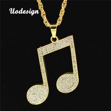 Uodesign стразы ритм кулоны ожерелья для мужчин хип хоп музыка