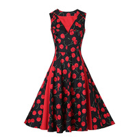 Sisjuly Vintage 1950s Red Dresses 2017 Summer V Neck Floral Print Female Party Dress Sleeveless Elegant