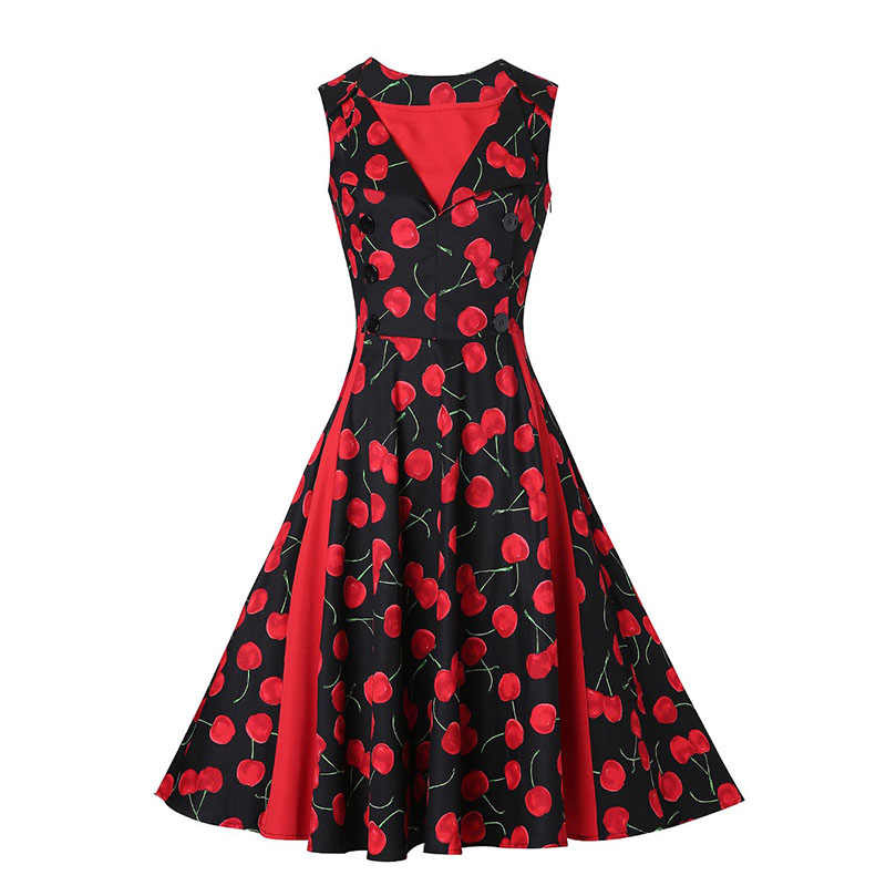 Sisjuly Vintage 1950s Red Dresses 2017 Summer V Neck Floral Print Female Party Dress Sleeveless Elegant