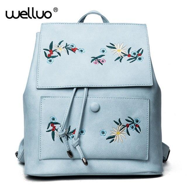 Fashion Floral Pu Leather Backpack Women Embroidery School Bag For Teenage Girls Brand Ladiesl Backpacks Blue Sac A Dos XA614B