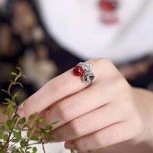 Гарантированное серебряное кольцо 925 кольца для женщин античные женские гранатовые кольца в виде кошки с натуральным камнем красивые ювелирные изделия Anelli Donna