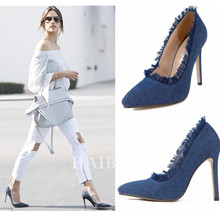 Women Pumps High Heels Stiletto Thin Denim High heels Spring Autumn 2017 European Women Pointed toe Pumps Slip On Pumps Blue 40
