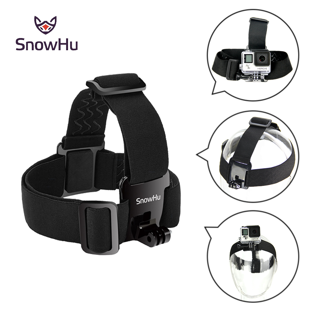 SnowHu Head Strap Action Camera For Gopro Hero 7 6 5 4 3 Black Elastic Type For Sport Cameras For Xiaomi Yi Accessories GP23 neopine hs 3gery nylon wrist band strap for digital cameras gopro hero black grey 27cm