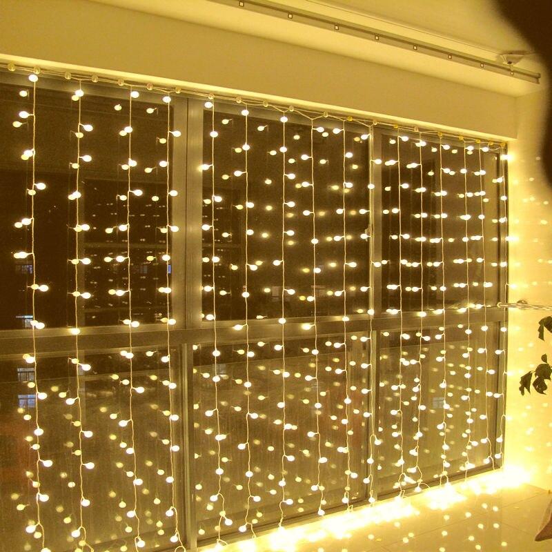 3 м x 3 м 300 светодиодные шары открытый Рождество Xmas Строка Фея Свадебное Шторы огни Освещение 220 ~ 240 В или 110 В цвета RGB