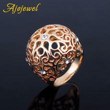 a suit of charming embellished hollow out rings for women Ajojewel Large Cocktail Rings For Women With CZ Hollow Out Flower Designer Ring Shipping Supplier
