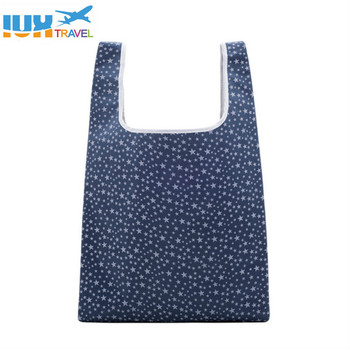 6 Styles Square Pocket Shopping tote Bag Candy  Available Eco-friendly Reusable Folding Polyester Makeup Bags & Cases