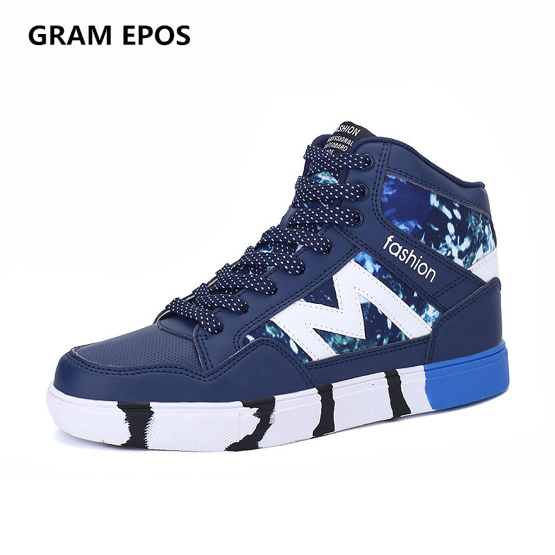 GRAM EPOS 2017 Autumn Male PU Leather Mix Colors cool lace up botas  High Top Casual Shoes For  Mens Casual Shoes Winter Shoes