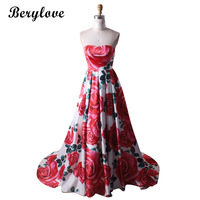 BeryLove Simple Red Floral Print Evening Dresses 2018 Long Strapless Satin Prom Dresses Women Formal Evening Dress Party Gowns