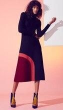 Color Block Women Mid-calf Dress Elegant Long Sleeve Autumn Dresses 0916810B1