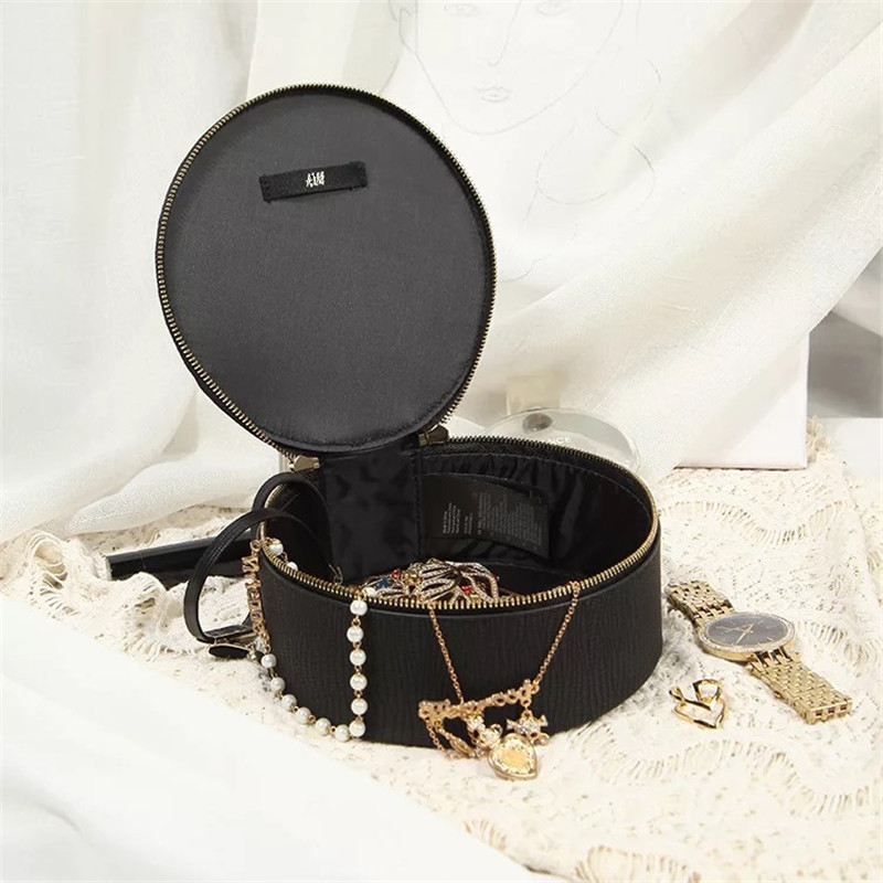 Fashion Black Round Jewelry Storage Box Cosmetic Bags Women Make Up Bag Travel Organizer Beauty Toiletry MakeUp Case Neceser Sac