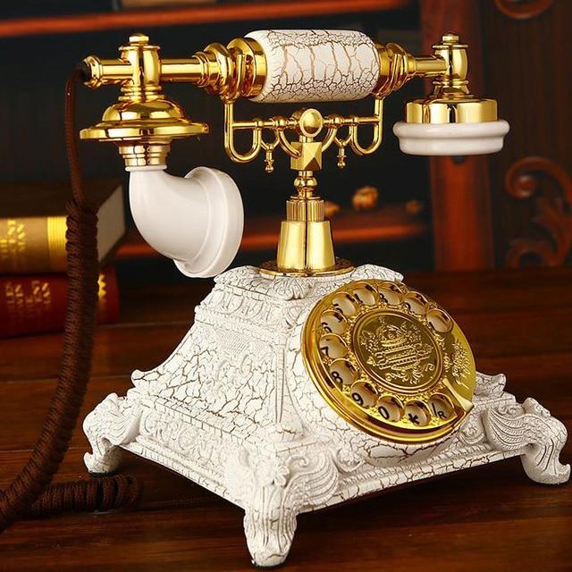 Girar girar Discar Telefones Antigos Telefone fixo Do Vintage Telefone Fixo Para O Escritório Home Hotel feito de resina estilo Europa