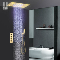 HPB Wall Mounted Led 3 Function Rainfall Waterfall Shower Faucets Sets with Hot and Cold Mixing Valve Gold Color 008G 50X36PG K