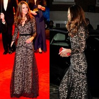 2015 Kate Middleton Sexy Black Lace Party Dresses Long Sleeve V Neck Floor Length Evening Gowns