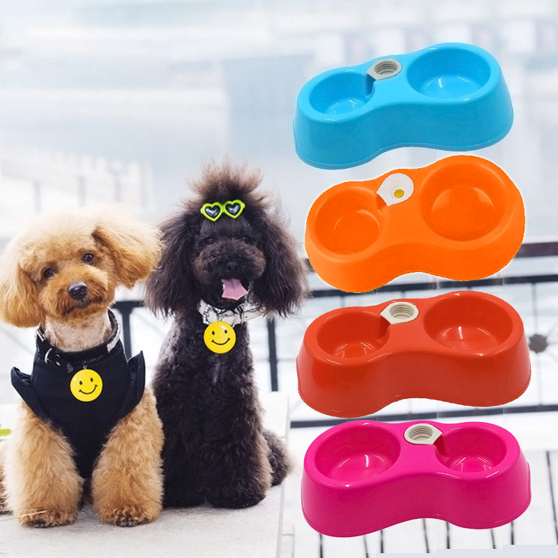 Pet Feeder Plastic Dual Port Automatic Feeder Water Drinking Feeding Basin Bowls For Cats Pet Dogs without Bottle FP88