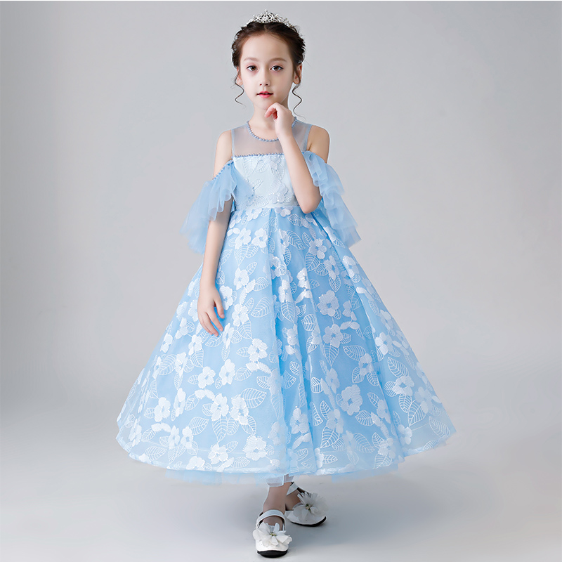 Summer New Luxury Blue Color Model Show Chidren Girls Dance Host Pageant Long Prom Dress Teens Kids Birthday Evening Party Dress 2019 new summer aqua blue set women s sexy costumes rhinestones bra tassel short prom party stage wear dance show sexy outfit