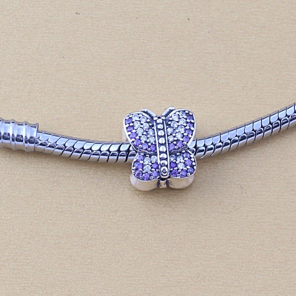 ZMZY Jewelry 925 Sterling Silver Sparkling Butterfly Charm Fits Pandora Charms Bracelets