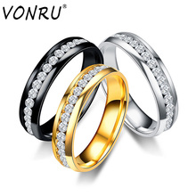VONRU Gold Black Wedding Bands Rings for Men Women Jewelry 6mm Stainless Steel Rhinestone Engagement Male Ring Size 6 to 13