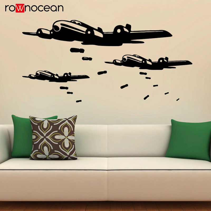 Airplane Wall Vinyl Decal Military Aviation Bomber Stickers Air Force Interior Housewares Design Bedroom Home Decor Murals 3448 image