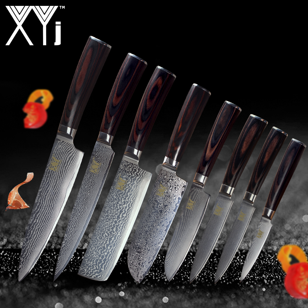 XYj Damascus Kitchen Knives Set Tool New Arrival 2019 VG10 Core 73 Layer Japanese Damascus Steel