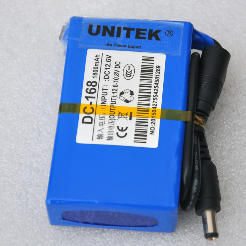 New lithium ion polymer DC 12v battery 1800mah rechargeable cell + 1pcs charger for CCTV camera system UPS Backup power supply