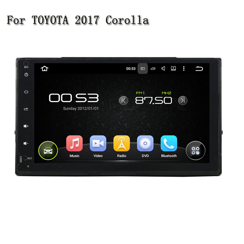 1024*600 Android 5.1 Car DVD Player For Toyota Collora 2017 Car Pc Head Unit GPS Navigation 2 Din Car Stereo