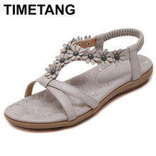 TIMETANG Small Flowers Summer Sandals Women Bohemia Beach Shoes