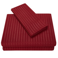 Bed Sheet Set - Satin stripes Bed flat sheets fitted sheet- Wrinkle, Fade, Stain Resistant - Hypoallergenic - 3/4 Piece