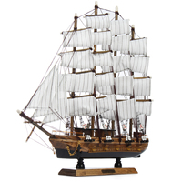 50cm Wood Crafts Desk Ornaments Office Shop Club Decoration Kits Classical 50cm Wooden Sailing Boat Ship Model Home Decor