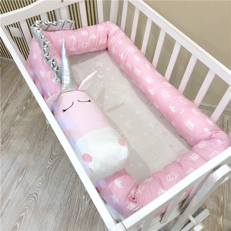 Pink Unicorn Handmade Baby Crib Bumper Pillow Baby Bed Bumper Best Gift for Newborn Baby ...