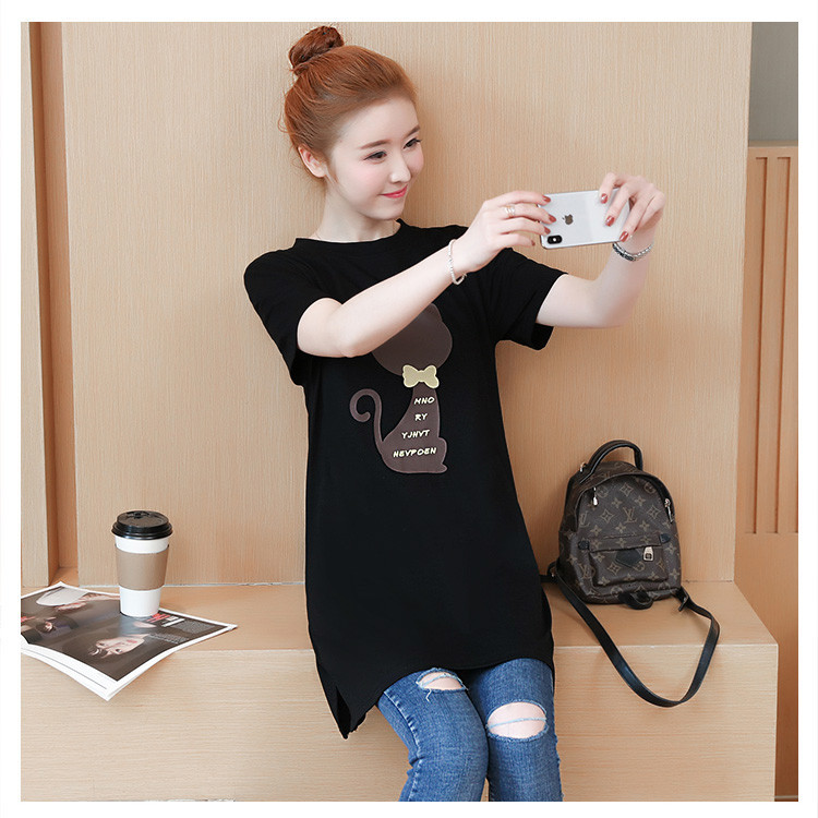 2018 Large size Women T-shirt dress summer Short sleeve Cats print Top Tees Casual O-neck Loose Female Tshirt Plus size 5XL J215 17
