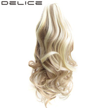[DELICE] 16 inches Women's Curly Claw Short Ponytail High Temperature Fiber Synthetic Hair Ponytails Piano Color 90g/piece