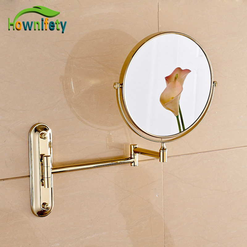 Golden Bathroom 8 Inch Cosmetic Mirror Dual Arm Extend 3 x Magnifying Mirror Wall Mount led bathroom mirror dual arm extend 2 face makeup mirror equipped metal round wall mirror