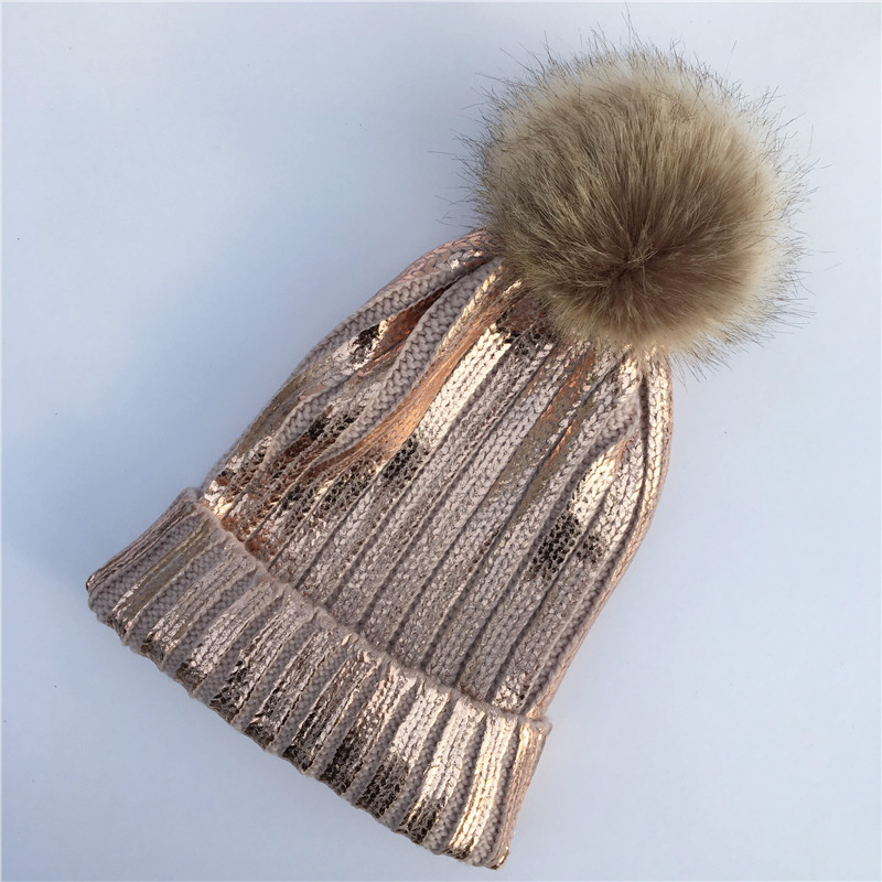 2018 New Winter Metallic Pink Ball   Beanie   Hat for Women Fluffy Double Faux Fur Pom Pom knitted   Skullies     Beanie   with pompom