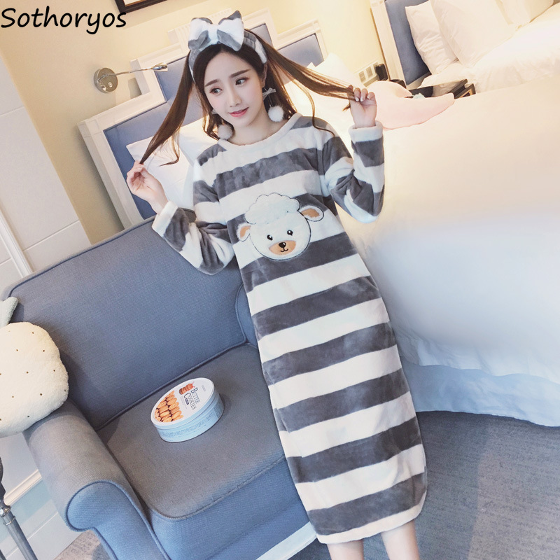 Nightgowns   Women Long Cartoon Printed Striped Kawaii Various Color Homewear Womens Winter Flannel Warm   Sleepshirts   Soft Trendy