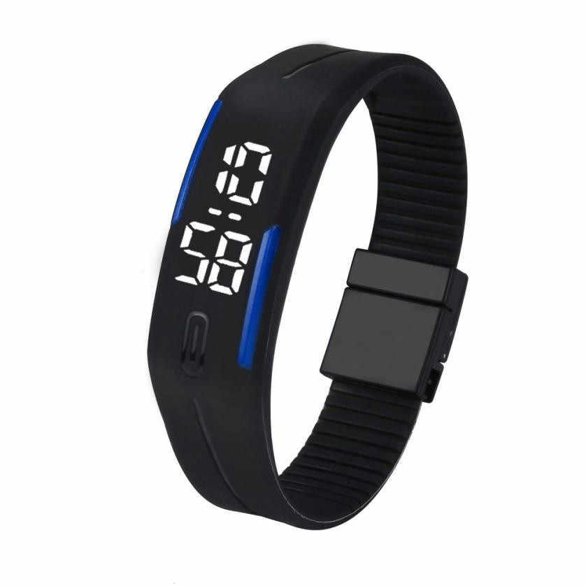 Best selling in 2018 Mens Womens Rubber LED Watch Date Sports Bracelet Digital Wrist Watch clock simple casual ladies bracelet