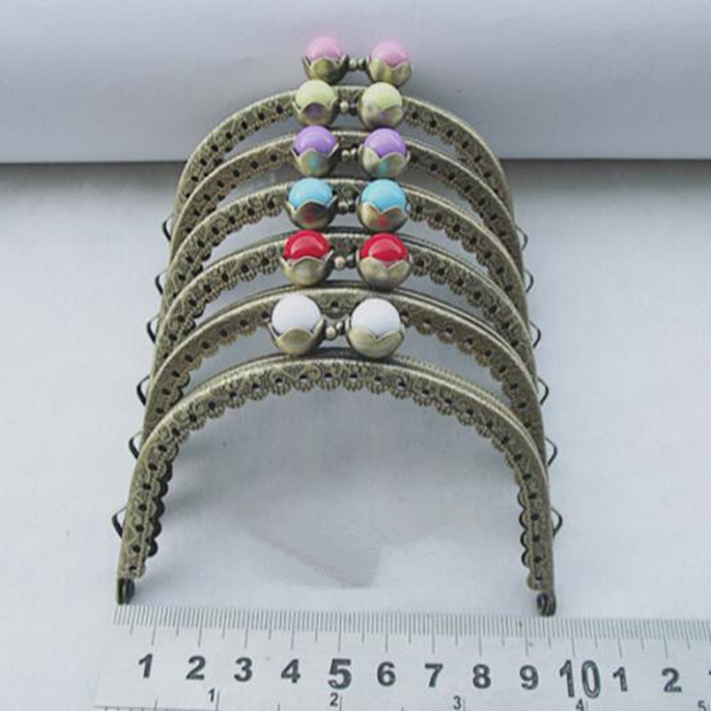 10PCS 9.5cm Metal Frame Kiss Clasp Arch For Purse Bag Antique Bronze Mixed AB Color Resin Ball Flower Pattern