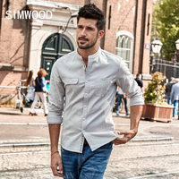 SIMWOOD 2017 Autumn New Casual Shirts Men Slim Fit Long Sleeve Stand Collar Shirt 100 Pure