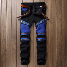 2017 New Male Club Jeans Blue black Knee Pleated Multi zipper Men Brand Slim motorcycle biker Jean denim Pants Homme