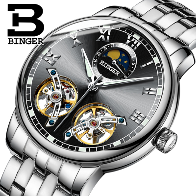 Binger Automatic Mechanical Watches Top Brand Luxury Stainless Steel Watch Skeleton Transparent Sport male WristWatch men gold watches automatic mechanical watch male luminous wristwatch stainless steel band luxury brand sports design watches