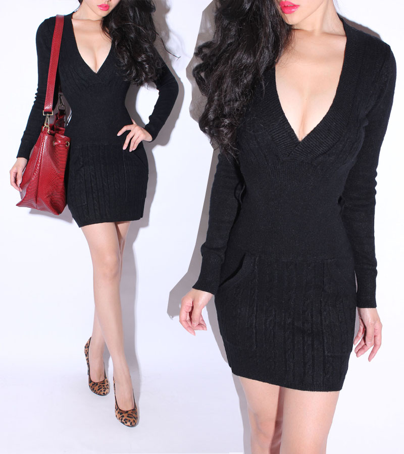 a16cdd6aa09 Deep V neck Low cut Black Long sleeve Sweater Dress Knitted Skirt Women  Dress 2014 Free Shipping 166-in Dresses from Women s Clothing on  Aliexpress.com ...