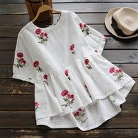 Japanese Casual Short Bat Sleeve Rose Pattern Shirt Blouse Women O Neck Floral Embroidery Cotton Linen