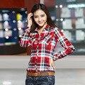 15 cor da Camisa da longo-luva das Mulheres de outono 2016 das mulheres outerwear espessamento 100% algodão fino Mulheres camisa xadrez vestuário feminino