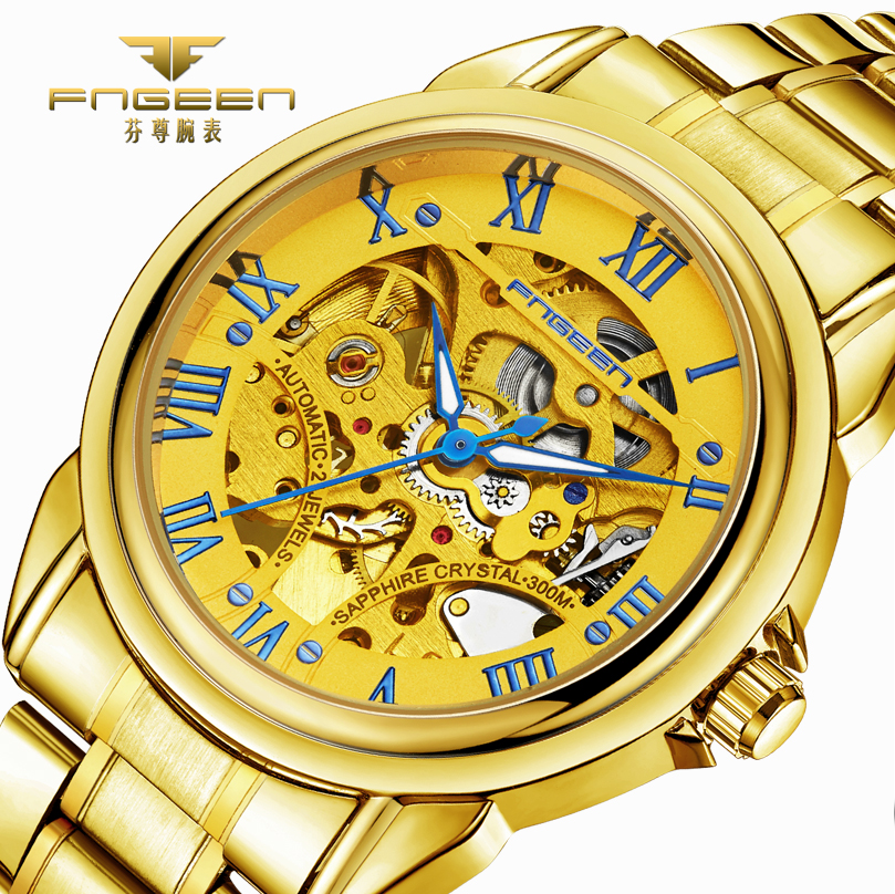 FNGEEN Brand Top Golden Luxury Men Watch Automatic Mechanical Watches Skeleton Self Wind Gold Men's Wristwatch Hollow Out Dial famous brand men gold automatic watch skeleton golden mechanical watches men self wind wristwatch hollow self winding clock 2017