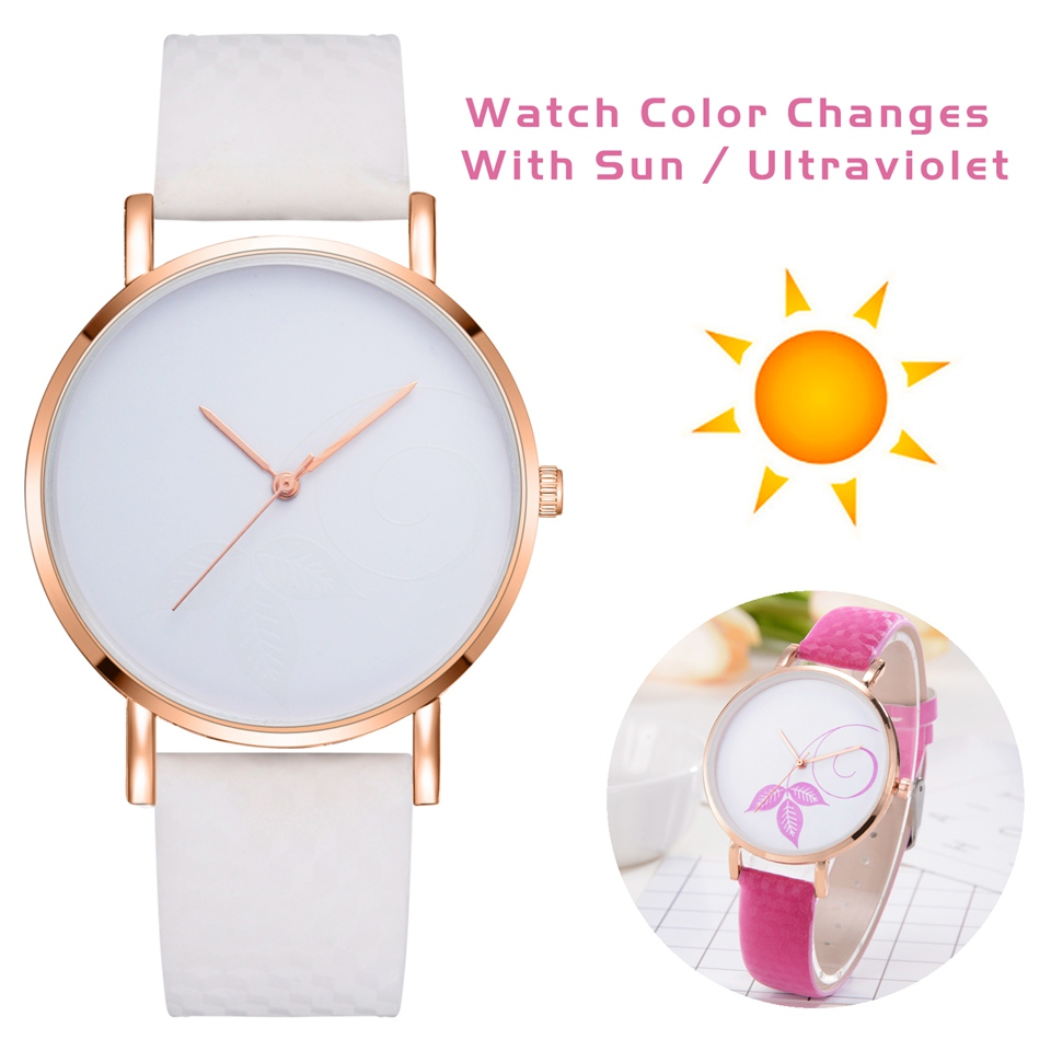 Women Wrist Watches Leather Strap Simple Fashion Quartz Watches In Direct Sunlight Change Color Sports Clock Relogio LS291