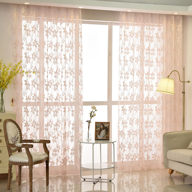 Fashion Window Tulle Curtains Flower Lace Pink Sheer For Living Room Voile Curtain Drape Bedroom Balcony AG0632 In From Home