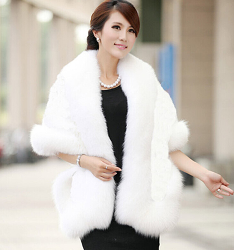 Faux Fur Wraps Winter Warm Bridal Shawl Elegant Luxury Women Wedding Cape White Black Burgundy Gray Bride Bolero LT040