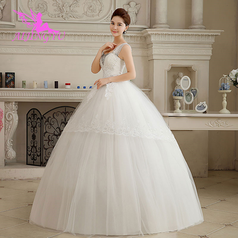AIJINGYU 2018 Ivory Free Shipping New Hot Selling Cheap Ball Gown Lace Up Back Formal Bride Dresses Wedding Dress WK558