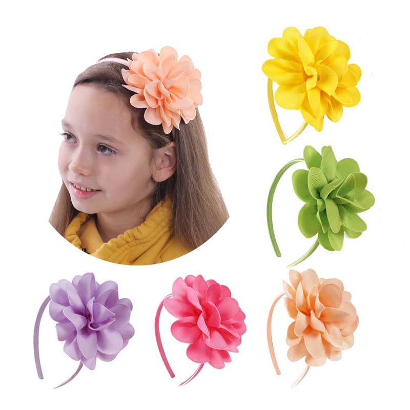 2 Pcs/lot 4.5'' Flower Hair Bands For Children Grosgrain Ribbon Headbands Girls Fashion Handmade Boutique Hair Accessories 10pcs lot high quality hair band with grosgrain ribbon flower for girls handmade flower hairbow hairband kids hair accessories
