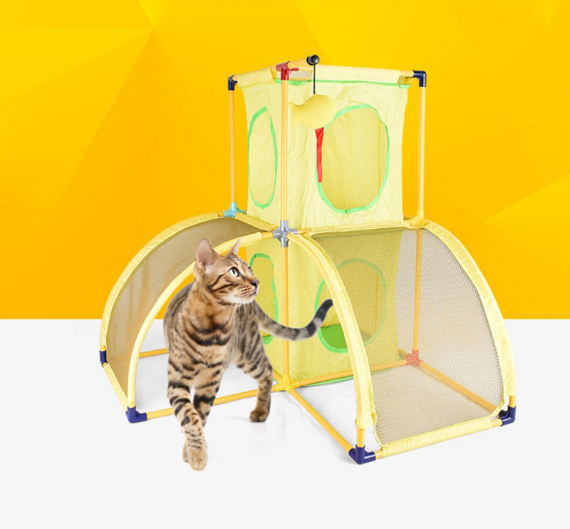 Multifunctional Cat Scratching Climbing Frame Cat Training Mats Tunnel Tent Toys Suitable Pet Supplies